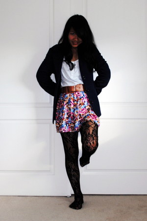 black Forever 21 tights - blue jacket - Forever 21 skirt