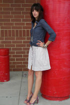 white Urban Outfitters skirt - blue NY&Co button down shirt - purple charles by