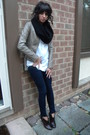 Black-jcrew-scarf-blue-old-navy-leggings-white-jcrew-shirt-brown-coach-boo