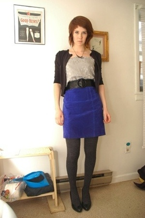 Target sweater - vintage top - belt - Express skirt - tights - Target shoes