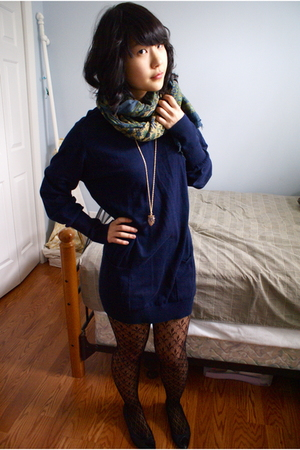 green Goodwill scarf - blue Forever 21 sweater - black Forever 21 tights