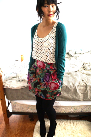 white Forever 21 top - green delias skirt - green Forever 21 cardigan