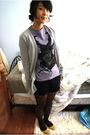 Purple-drivebypress-shirt-gray-target-sweater-black-forever-21-shorts-blac