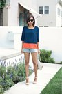 Navy-sugarlips-blouse-light-blue-levis-shorts-white-coach-heels