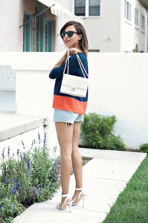 navy Sugarlips blouse - light blue Levis shorts - white coach heels