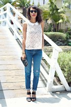 white Forever 21 blouse - blue BDG jeans - black American Apparel purse