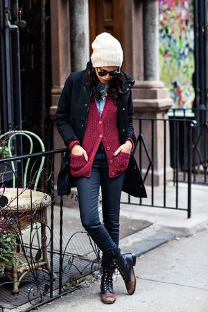 brick red Urban Outfitters cardigan - black G-Star coat - navy Levis jeans