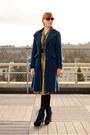 Navy-coat-blue-steve-madden-boots-mustard-vintage-dress