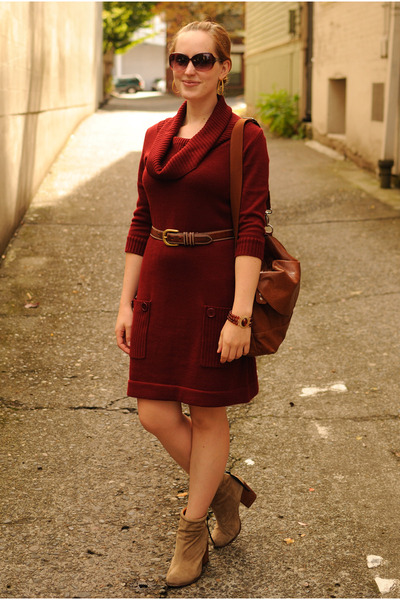 tan suede Jeffrey Campbell boots - brick red sweater dress Fred Meyer dress