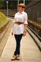 navy jeans - beige wedge boots - white blouse - tawny scarf belt