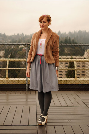 white Wyeth wedges - light brown faux fur Judi Rosen coat