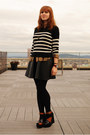 Black-striped-loft-sweater-black-faux-leather-h-m-skirt