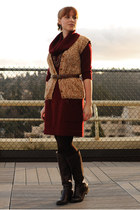 crimson sweater dress - dark brown Jessica Simpson boots