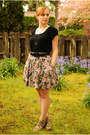 Pink-floral-print-skirt-black-gap-shirt-black-macys-cardigan