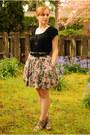 Pink-floral-print-skirt-black-gap-shirt-black-macys-cardigan