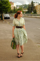green vintage dress - green vintage bag - dark brown Madden Girl heels