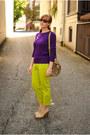 Chartreuse-pants-purple-sweater-beige-wedges