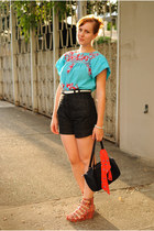 navy high-waisted H&M shorts - turquoise blue embroidered blouse