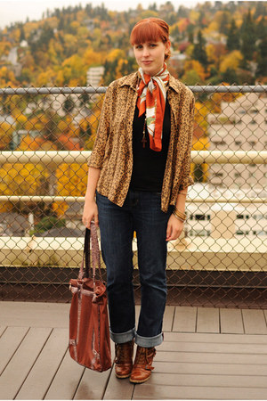 light brown leopard print thrifted cardigan - tawny boots - navy Gap jeans