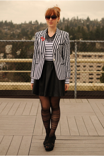 white striped thrifted blazer - black sheer striped romwe tights