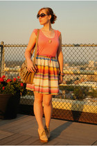 white striped skirt - bubble gum Old Navy top - tan wedges