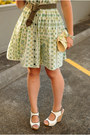 White-sam-edelman-wedges-green-vintage-dress
