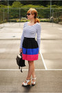 White-striped-h-m-shirt-black-forever-21-skirt-white-sam-edelman-wedges