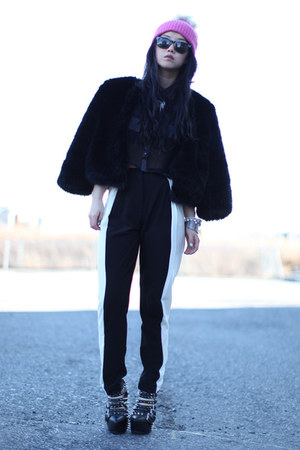 black color panel H&M pants - bubble gum fur beanie H&M hat