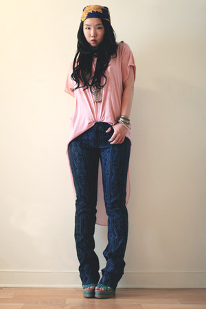 navy David Kahn jeans - navy Chanel scarf - light pink LES Vintage top