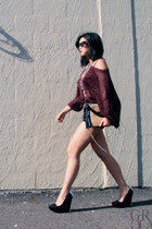 black Theyskens Theory pumps - maroon H&M sweater - beige clutch r&em bag