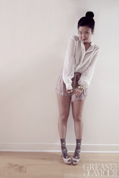 sheer ben sherman shirt - high waist Forever 21 shorts - owl print H&M socks