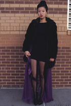 black faux fur vintage coat - black H&M dress