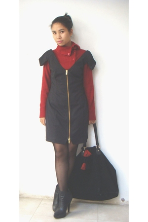 red vintage sweater - black gestuz dress - black your feets look georgous boots 