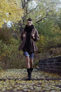 Black-zara-boots-blue-denim-h-m-shorts-dark-brown-knitted-h-m-cardigan