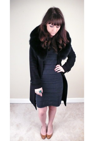 gray calvin klein dress - black Burberry coat - aquamarine YSL ring - tan Christ