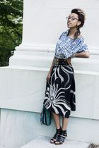 black Max Mara skirt - blue shirt - black shoes - blue purse