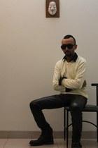leather boots - shirt - sunglasses - pants - cashmere jumper