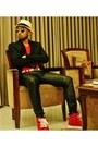 Black-jeans-light-yellow-straw-hat-hat-black-wool-blazer-red-shirt