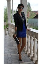 blue H&M dress - gray Mexx jacket - black Bally purse - black Christian Loubouti