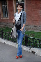 white K by Karl Lagerfeld scarf - blue Zara jeans - silver Givenchy purse - red