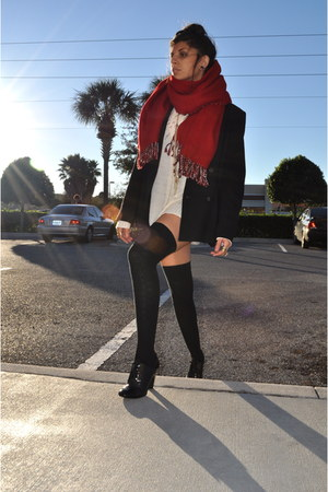 red scarf - black Bill Burns blazer - eggshell vintage sweater - black socks - b