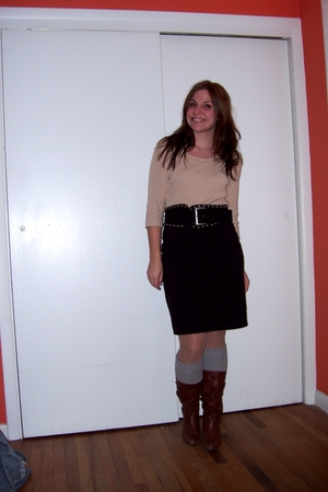 thrifted sweater - thrifted skirt - Target boots - Target socks - Forever 21 bel