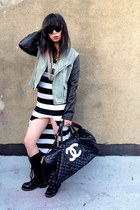 black striped OASAP dress - light blue denim volcom jacket