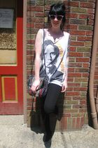 white jackson browne t-shirt - black Urban Outfitters pants - black vintage purs