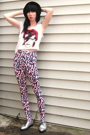 silver Jeffrey Campbell shoes - pink poison ivy leggings