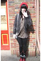 black vintage boots - brown vintage top - black H&M jacket - red vintage hat - b