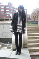 black vintage coat - white vintage sweater - black vintage boots
