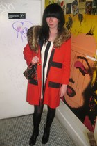 red vintage coat - black vintage boots - white vintage dress