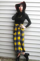 gold vintage skirt - black vintage top