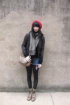 brown vintage purse - black H&M jacket - brown vintage boots